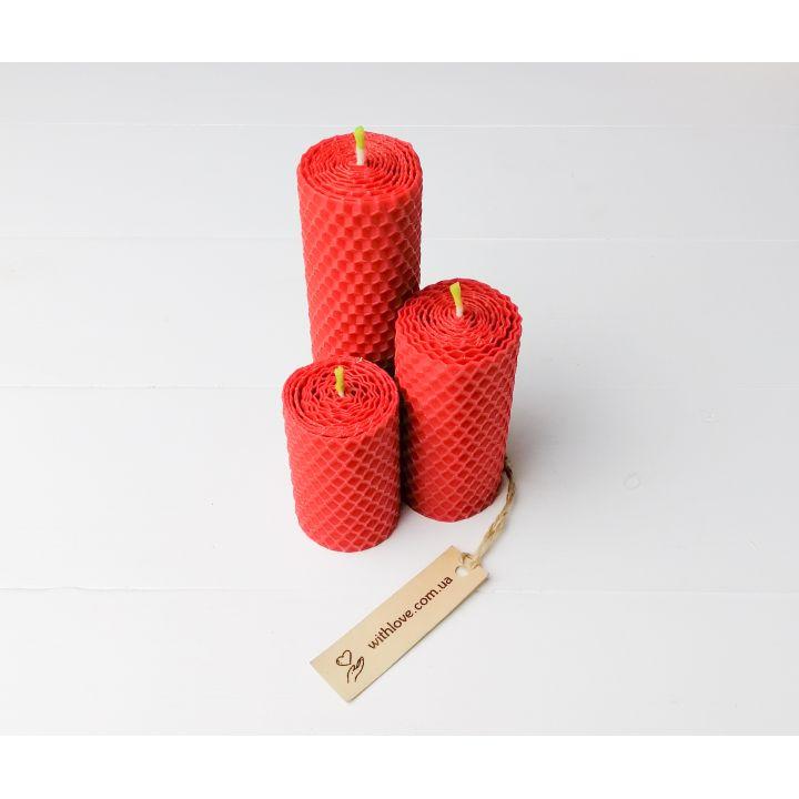 Набір свічок з вощини 3шт. Колір на вибір
